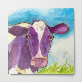 Purple Cow Metal Print