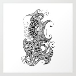 Zentangle art 1, abstract graphic-design, Black and white, ink handdrawing Art Print