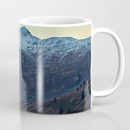 Sunset on a Snow Covered Mountain Photography Print Coffee Mug