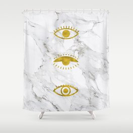 Golden Eyes on Marble Shower Curtain