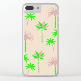 Palm Trees - Green & Neutral Clear iPhone Case