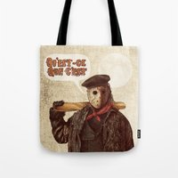 yetiland Tote Bags featuring Psycho Killer by Eric Fan