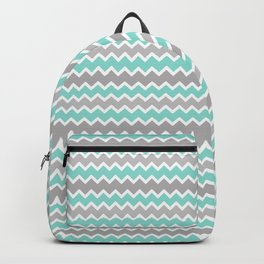 Aqua Turquoise Blue and Gray Chevron Backpack