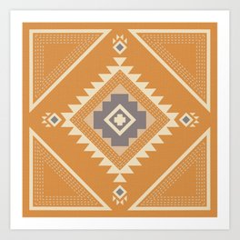 Modern Western Pattern in Butterscotch and Frost Gray Art Print