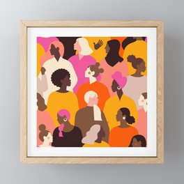 Female diverse faces pink Framed Mini Art Print
