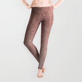 Girly Glam Pink Rose Gold Foil and Glitter Mesh Leggings