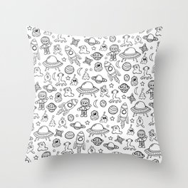 Space Print, Black and White pattern, Alien Illustration, Outer Space, Rocket Ship Throw Pillow