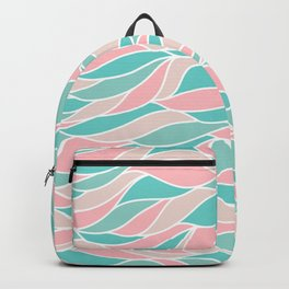 Pastel pink green abstract geometric waves pattern Backpack