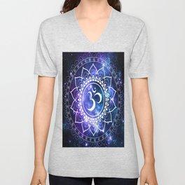 Om Mandala: Violet & Teal Galaxy Unisex V-Neck