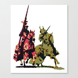 medieval knights with sword and lance Canvas Print