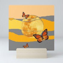 MOON & MONARCH BUTTERFLIES DESERT SKY ABSTRACT ART Mini Art Print