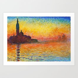 Claude Monet Sunset In Venice Art Print