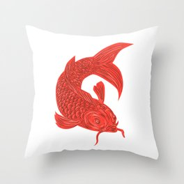 Red Koi Nishikigoi Carp Fish Drawing Throw Pillow
