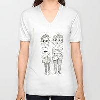 subway V-neck T-shirts featuring Subway Friends by TheFrizzKid