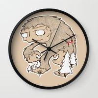 sasquatch Wall Clocks featuring Sasquatch by rebecca miller