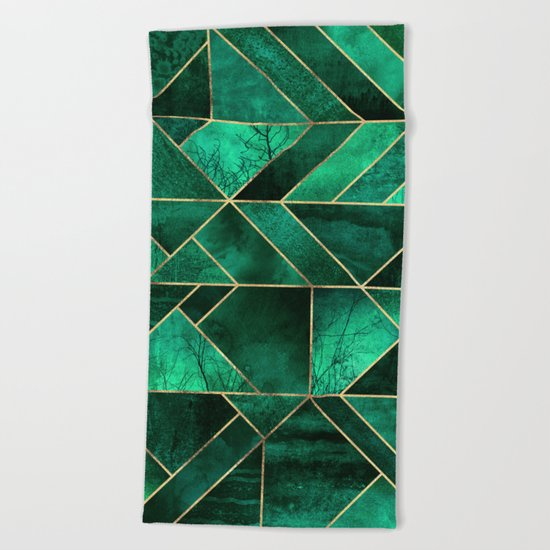 Abstract Nature - Emerald Green Beach Towel