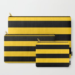 Yellow and Black Honey Bee Horizontal Cabana Tent Stripes Carry-All Pouch