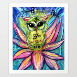 Lotus Owl original illustration from Spirit Owl Series by Sheridon Rayment Art Print