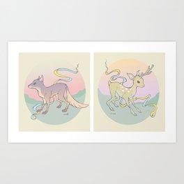 Fox & Fawn Art Print