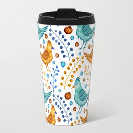 Modern hand painted teal blue watercolor floral birds pattern Travel Mug