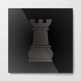 Black rock chess piece Metal Print