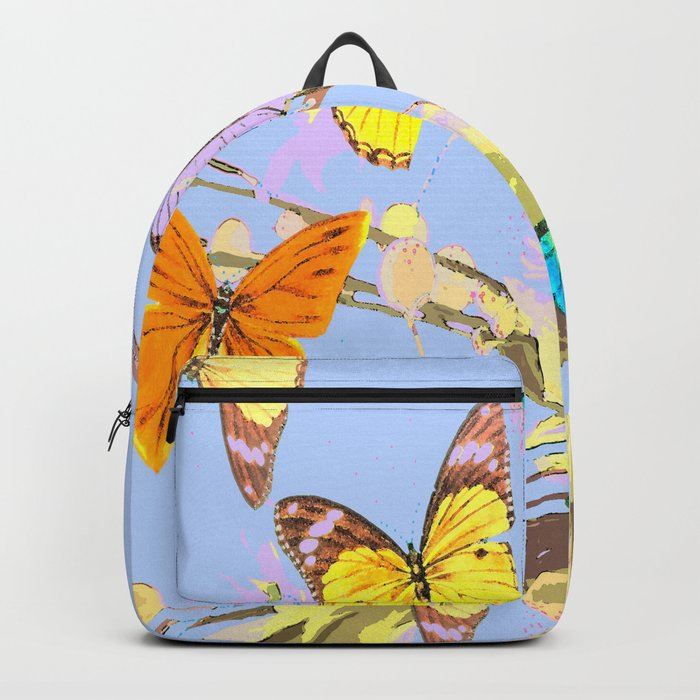 Playing butterflies on a summer day - lovely blue sky background - cheerful and happy Backpack