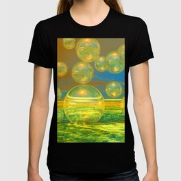 Golden Days, Abstract Yellow and Azure Tranquility T-shirt