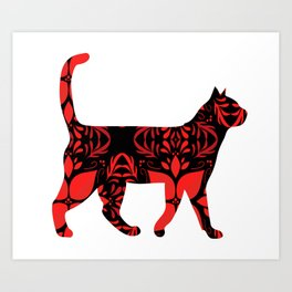 Red flower cat Art Print