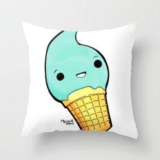 Happy Cream Throw Pillow