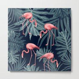 Summer Flamingo Jungle Night Vibes #1 #tropical #decor #art #society6 Metal Print