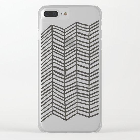 Herringbone – Black & White Clear iPhone Case