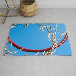 Red Basketball Rim, White Old Rope, Blue Sky Rug