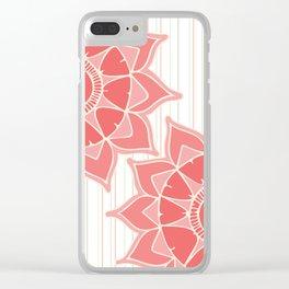 Pastel color coral pink floral mandala stripes Clear iPhone Case