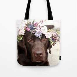 Flower Crown Beautiful Dog Portrait Tote Bag