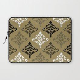 Cresta Damask Ptn Black White Bronzes Gold Laptop Sleeve