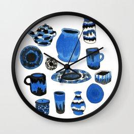 Cobalt Pottery Wall Clock