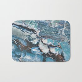 Turquoise Blue Marble Bath Mat