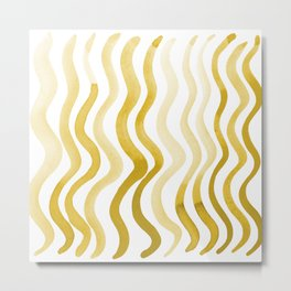 Wavy lines - yellow ochre Metal Print
