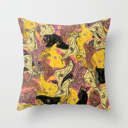 Butterfly Wings in Bold Yellow Throw Pillow