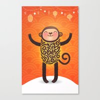 monkey Canvas Prints featuring Monkey by Anna Alekseeva kostolom3000