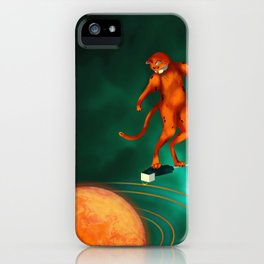 Space cat surfing iPhone Case