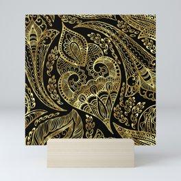 Black and gold ethnic paisley pattern Mini Art Print