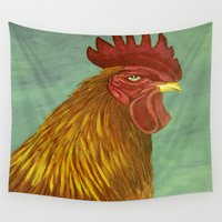 rooster Wall Tapestries featuring Rooster portrait by maggs326