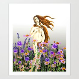 Venus and flower Art Print