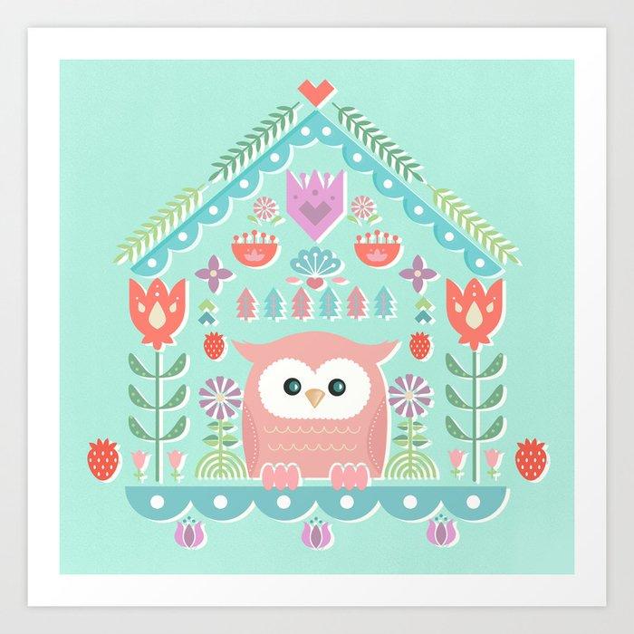 Scandinavian Folk Style Owl Bird House Kunstdrucke
