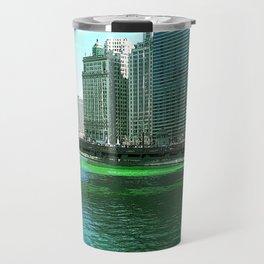 Chicago River on St. Patrick's Day #Chicago Travel Mug