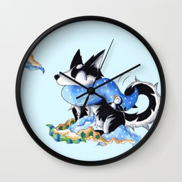 Wrapping Paper Pup Wall Clock