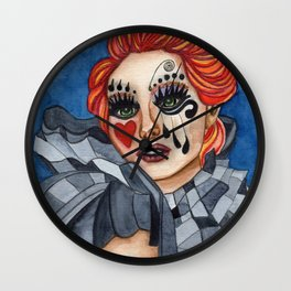 Harlequin - watercolor Wall Clock