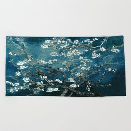 Van Gogh Almond Blossoms : Dark Teal Beach Towel