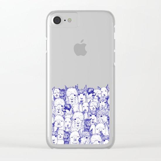 just alpacas blue white Clear iPhone Case